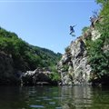 initiation canyoning family friends Antipodes Millau